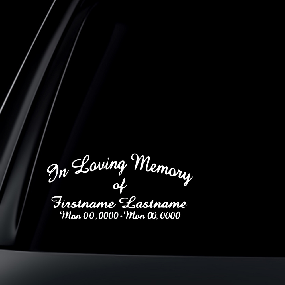 CUSTOM In Loving Memory Car Decal / Sticker