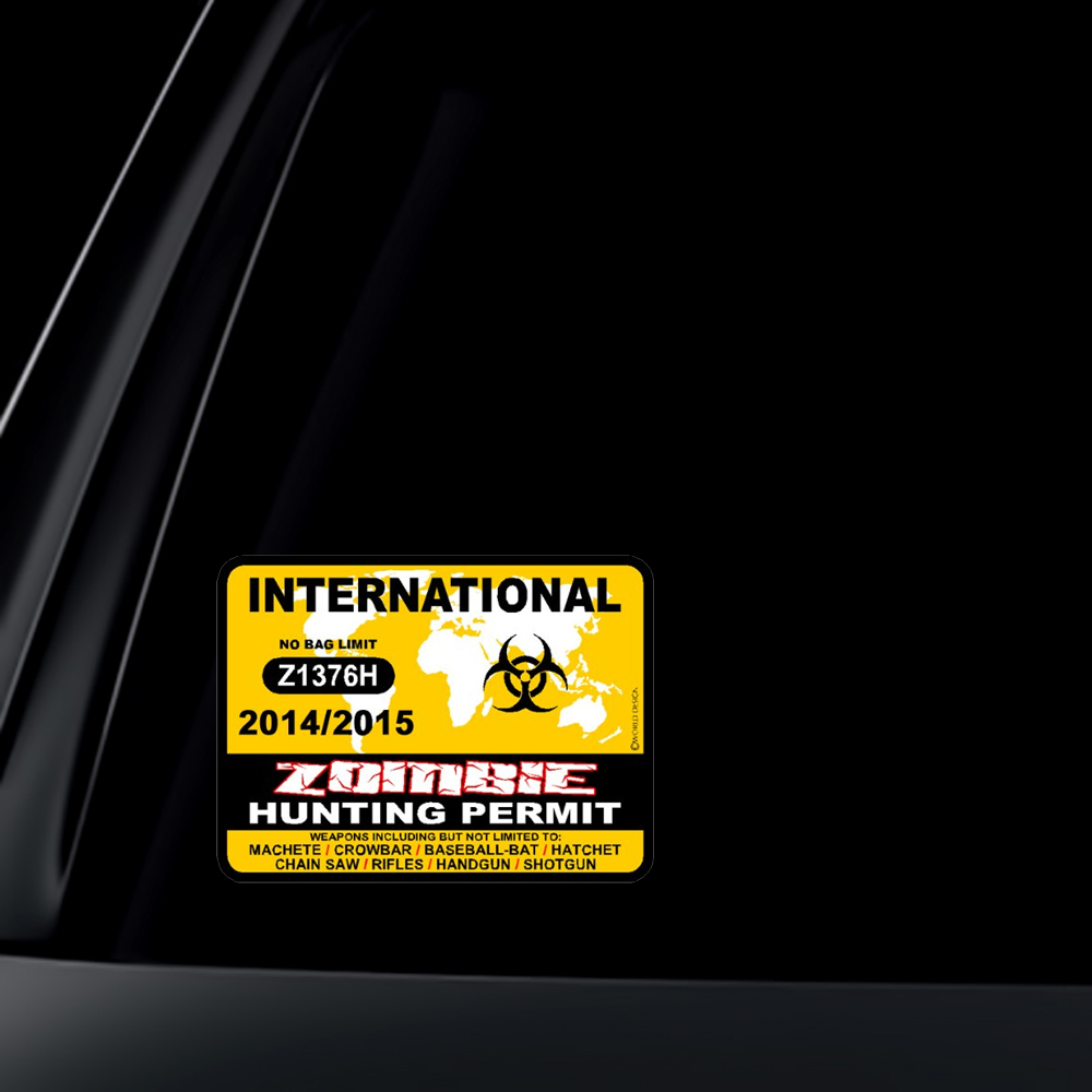 INTERNATIONAL Zombie Hunting Permit 2014/2015 Car Decal / Sticker