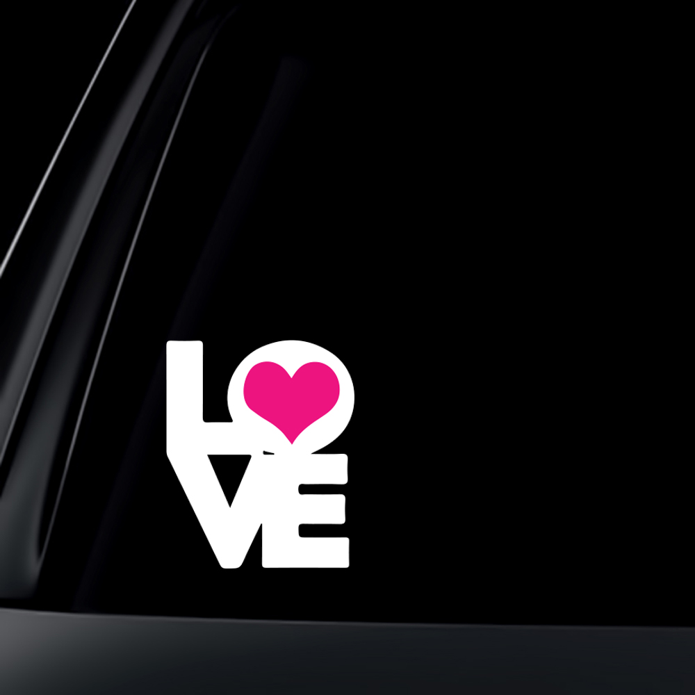 LOVE with PINK Heart Car Decal / Sticker