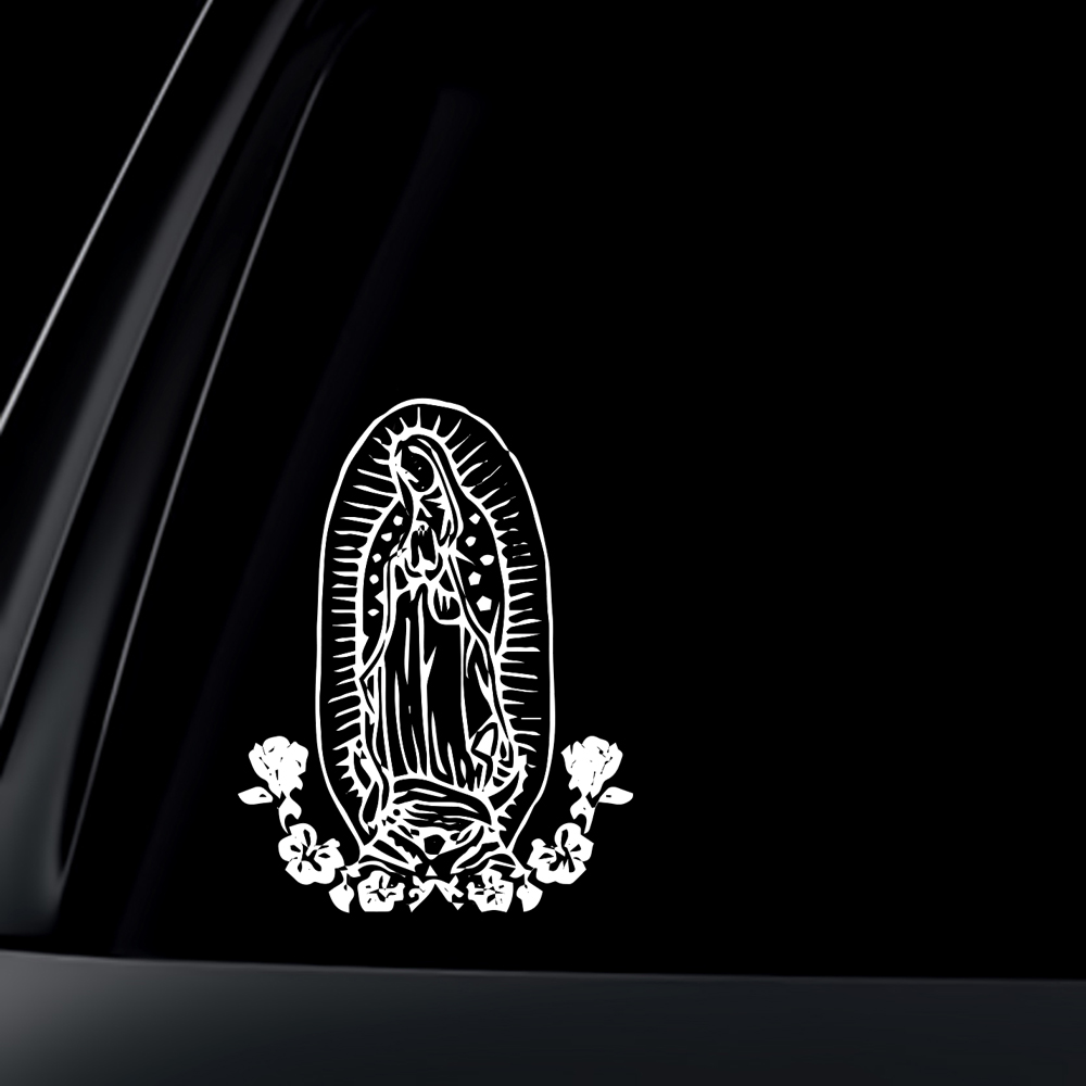 Virgin Mary w/ Flower Car Decal / Sticker