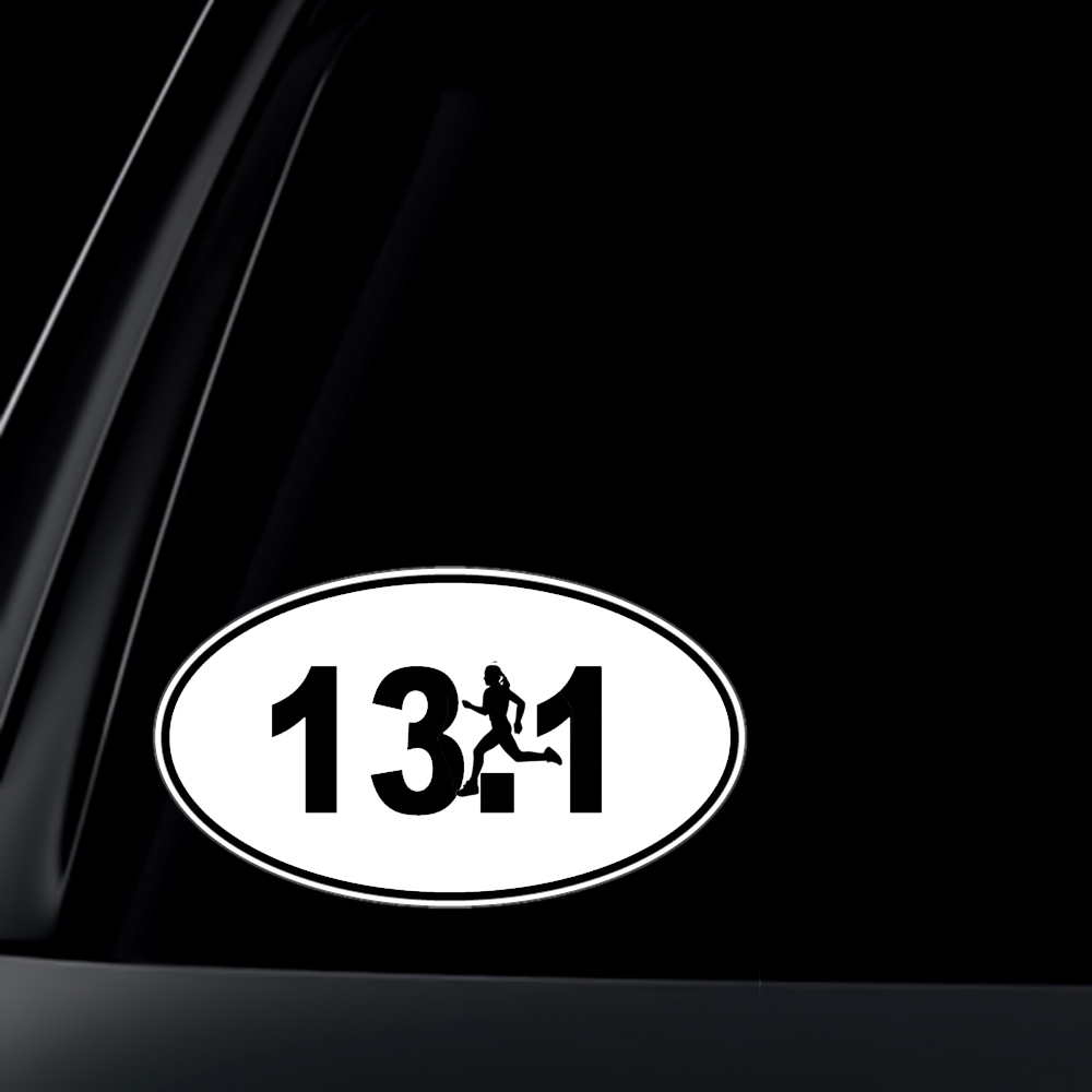 13.1 Marathon Runner Euro Oval Car Decal / Sticker