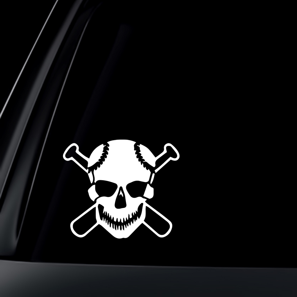 Skull w/ Baseball Bat Car Decal / Sticker