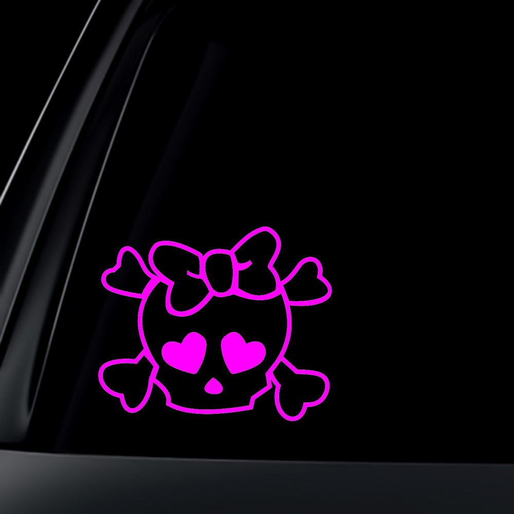 Skull and Cross Bones with Heart Eyes decal sticker