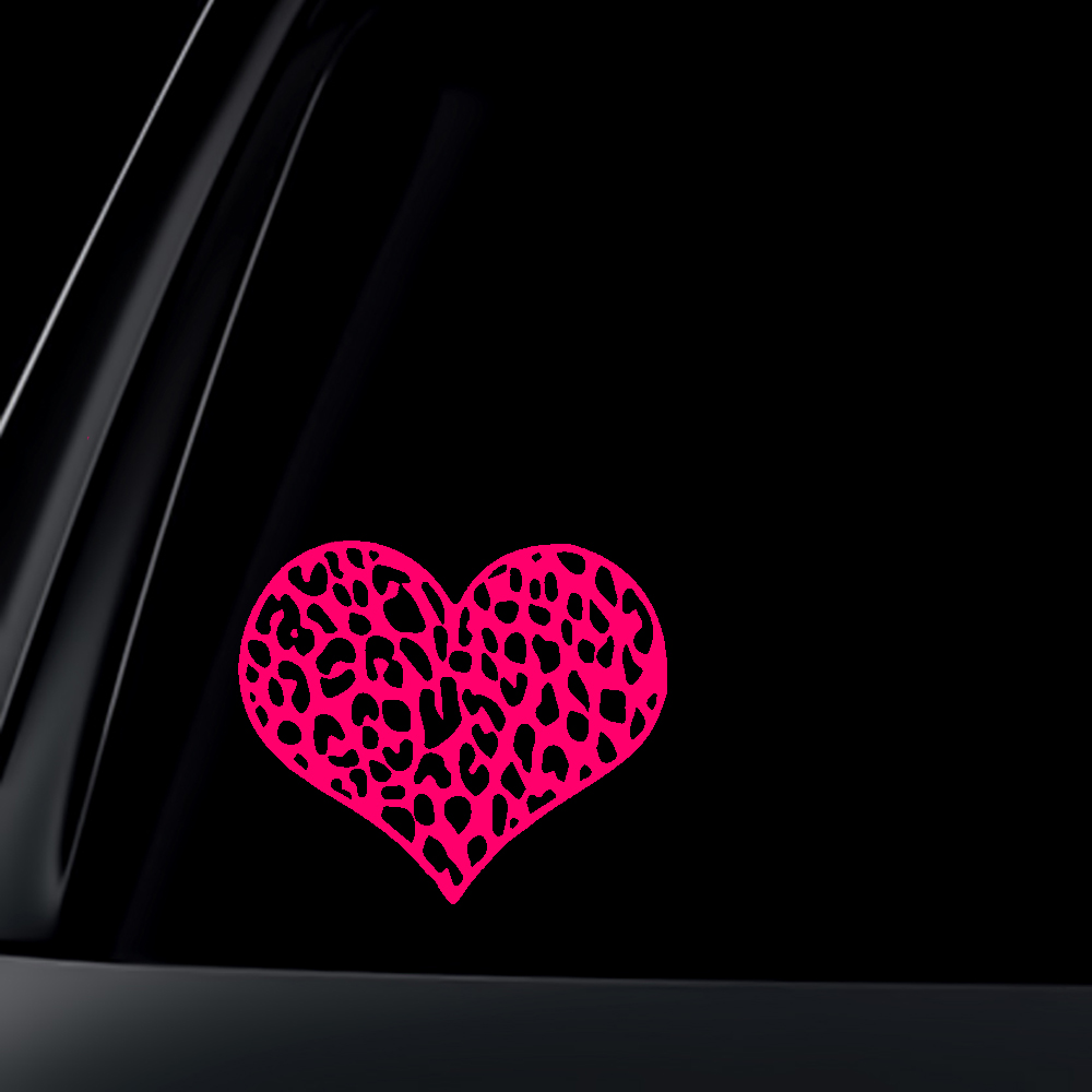 Leopard Print Heart Car Decal / Sticker