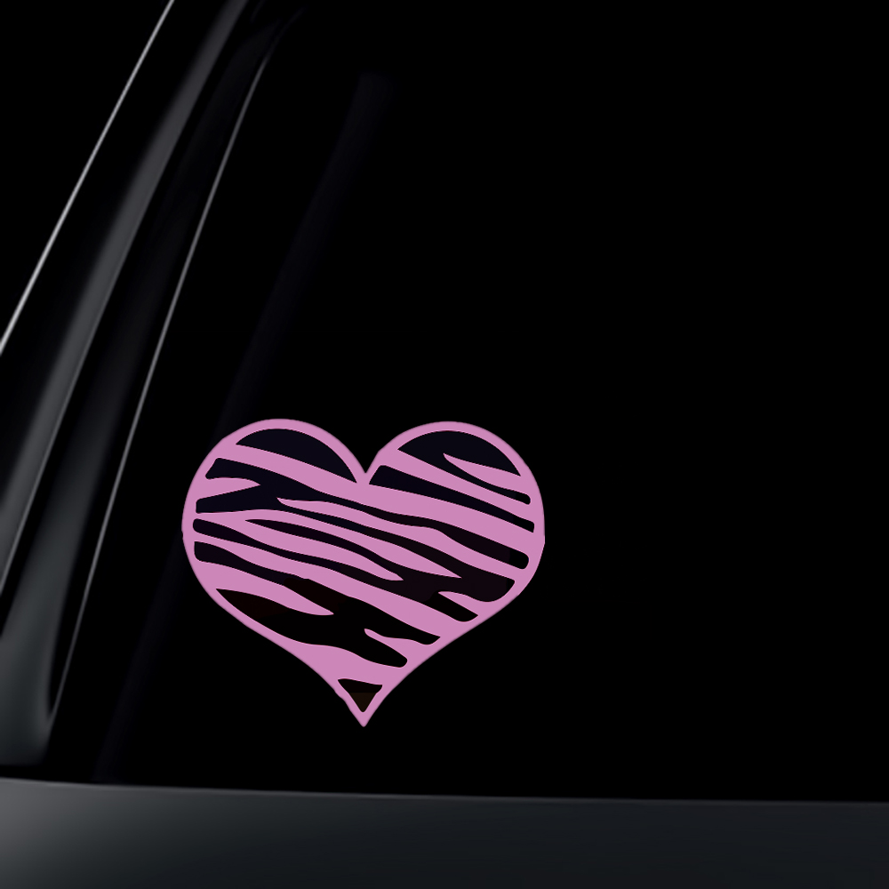 Zebra Print Heart LIGHT PINK Car Decal / Sticker