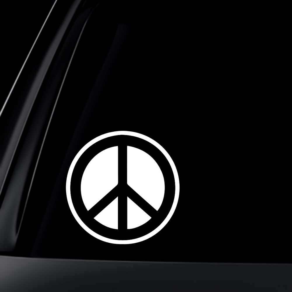 Solid Peace Sign Car Decal / Sticker