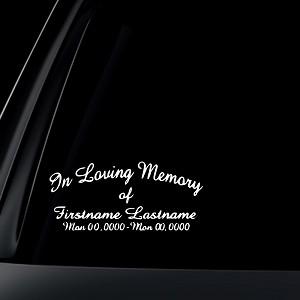 In Loving Memory Car Decals >> Custom In Loving Memory Car Decal Sticker